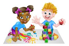 Playing Kids vector illustration