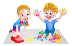 Cartoon Boy and Girl with Car and Paints. Cartoon boy and girl playing with toys, with paints and toy car Royalty Free Stock Images