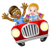 Cartoon Boy and Girl In Car Stock Image