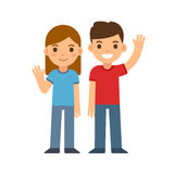 Cartoon boy and girl. Cute cartoon children smiling and waving, boy and girl. Brother and sister or two friends. Happy kids vector illustration Royalty Free Stock Photo