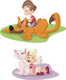 Cartoon boy and girl with dog and cat. Pets. Royalty Free Stock Photo