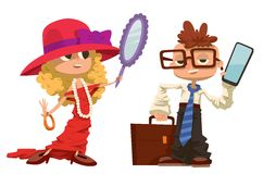 Cartoon boy and girl dressed like mother, father Stock Photography