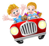 Cartoon Boy and Girl in Fast Car Stock Images