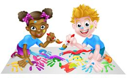 Two Children Painting. Cartoon boy and girl getting very messy with paints Royalty Free Stock Images