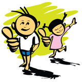 Cartoon boy and girl hand drawn vector Stock Photo