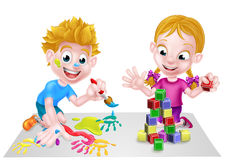 Cartoon Boy and Girl Having Fun Royalty Free Stock Images