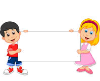 Cartoon Boy and girl holding blank sign Royalty Free Stock Photos
