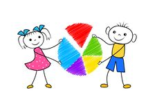 Cartoon boy and girl holding pie chart in hands. Doodle big data analysis concept isolated on white background. vector illustration