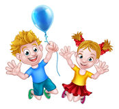 Cartoon Boy and Girl Jumping with Balloon Stock Photography
