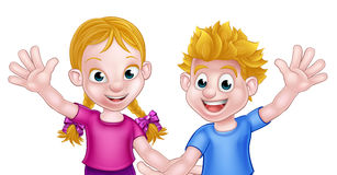 Cartoon Boy and Girl Kids. Happy cartoon young boy and girl kids waving, possibly brother and sister Royalty Free Stock Photo