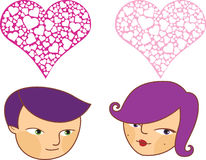 Cartoon boy and girl in love Royalty Free Stock Photo