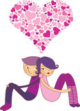 Cartoon boy and girl in love Stock Photo