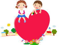 Cartoon boy and girl in love. Illustration Stock Photography