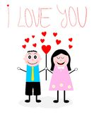 Cartoon boy an girl in love Stock Image