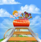 Roller Coaster Fair Theme Park. Cartoon boy and girl, one black one white,  kids riding on a roller coaster ride at a theme park or amusement park Royalty Free Stock Photography