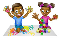 Cartoon Boy and Girl with Paint and Blocks Stock Images
