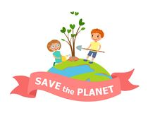 Cartoon boy and girl planting and watering tree. Save the planet - Earth Day concept vector Illustration royalty free illustration