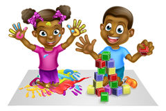 Cartoon Boy and Girl Playing Stock Photo