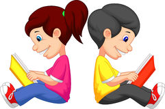 Cartoon Boy and girl reading book Stock Image