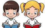 Cartoon boy and girl reading a book Royalty Free Stock Image