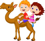 Cartoon Boy and girl riding camel Royalty Free Stock Image