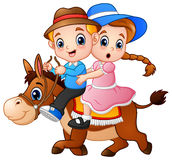 Cartoon boy and girl riding a horse. Vector illustration of Cartoon boy and girl riding a horse Stock Image