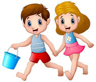 Cartoon boy and girl running Stock Images
