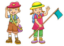 Cartoon boy/girl scout Royalty Free Stock Photos