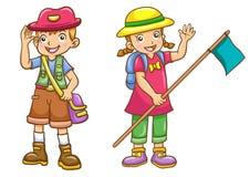 Cartoon boy/girl scout Royalty Free Stock Photos