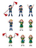 Cartoon boy/girl scout icon set Stock Images