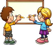 Cartoon boy and girl writing on white board. Cartoon kids writing on a blank board. Vector clip art illustration. Some elements on separate layers royalty free illustration