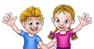 Cartoon Boy and Girl Stock Photography