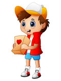 Cartoon boy giving gift packages Stock Images
