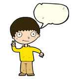 Cartoon boy giving peace sign with speech bubble Royalty Free Stock Image