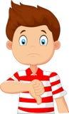 Cartoon boy giving thumb down Royalty Free Stock Photos