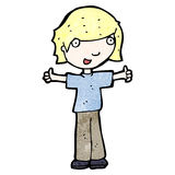 cartoon boy giving thumbs up symbol Royalty Free Stock Images