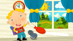 Cartoon boy is going to school. Beautiful and colorful illustration for the children Royalty Free Stock Photos