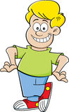Cartoon boy with hands on hips Royalty Free Stock Image