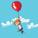 Cartoon of a boy hanging onto. A balloon. A cloudy blue sky behind him Stock Image