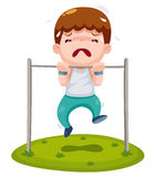 Cartoon boy hanging single bar Stock Images