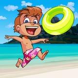 Cartoon boy happily runs along the seashore. Cartoon boy happily runs with an inflatable circle along the seashore Royalty Free Stock Image