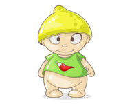 Cartoon boy with hat lemon Stock Photo