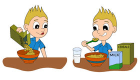 Cartoon boy having a breakfast Stock Image