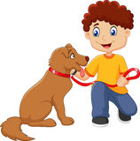 Cartoon boy with his dog  on white background Royalty Free Stock Photos