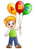 Cartoon boy holding alphabet balloon vector illustration