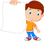 Cartoon boy holding blank paper Royalty Free Stock Photo