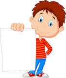 Cartoon boy holding blank paper Royalty Free Stock Photography