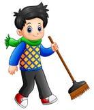 Cartoon boy holding a broom. Illustration of Cartoon boy holding a broom Stock Photo