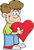 Cartoon boy holding a heart Stock Images