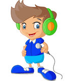 Cartoon boy holding microphone Stock Image